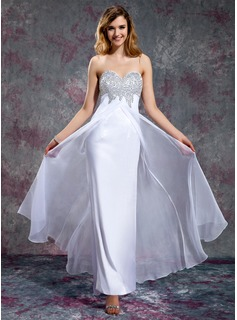 Empire Sweetheart Floor-Length Chiffon Charmeuse Prom Dress With Beading Sequins