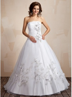 Ball-Gown Strapless Floor-Length Taffeta Organza Quinceanera Dress With Embroidered Ruffle Beading Flower(s)