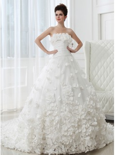 Ball-Gown Strapless Cathedral Train Taffeta Tulle Wedding Dress With Ruffle Flower