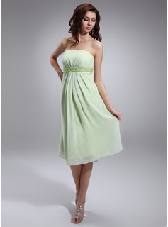 Empire Strapless Knee-Length Chiffon Charmeuse Maternity Bridesmaid Dress With Ruffle Beading Sequins