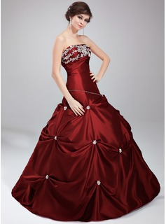 Ball-Gown Strapless Floor-Length Taffeta Quinceanera Dress With Embroidered Lace Beading Sequins