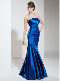Mermaid Scalloped Neck Floor-Length Charmeuse Evening Dress With Ruffle (017002646)