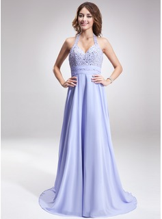 A-Line/Princess Halter Sweep Train Chiffon Prom Dress With Ruffle Beading