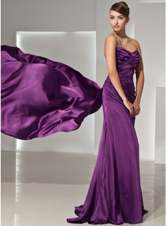 Sheath Sweetheart Watteau Train Charmeuse Evening Dress With Ruffle (017014444)
