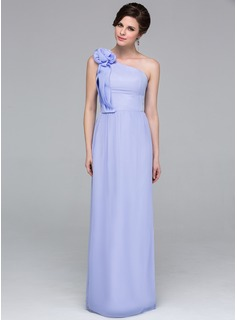 Sheath One-Shoulder Floor-Length Chiffon Holiday Dress With Ruffle Flower(s)