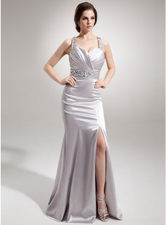 Sheath Sweetheart Watteau Train Charmeuse Evening Dress With Ruffle Beading