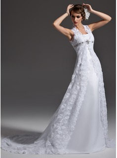 A-Line/Princess Square Neckline Chapel Train Satin Lace Wedding Dress With Beadwork