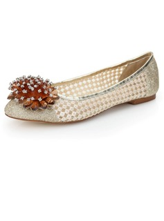 Real Leather Flat Heel Flats Closed Toe With Rhinestone Crystal shoes