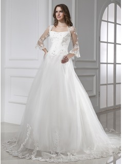 Ball-Gown Square Neckline Cathedral Train Satin Tulle Wedding Dress With Lace (002015458)