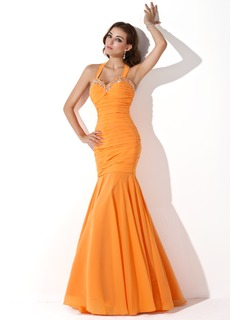 Mermaid Halter Floor-Length Chiffon Evening Dress With Ruffle Beading Sequins (017005814)