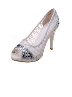Women's Lace Stiletto Heel Peep Toe Pumps Sandals With Rhinestone
