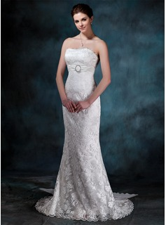 Sheath/Column Strapless Court Train Chiffon Charmeuse Lace Wedding Dress With Ruffle Lace Crystal Brooch (002000134)