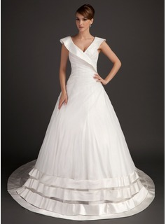 Ball-Gown V-neck Chapel Train Organza Satin Wedding Dress With Ruffle