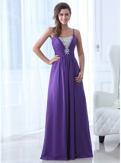 A-Line/Princess Scoop Neck Floor-Length Chiffon Evening Dress With Beading (017017365)