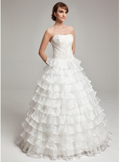 Ball-Gown Sweetheart Floor-Length Organza Charmeuse Wedding Dress With Ruffle Beadwork (002017564)