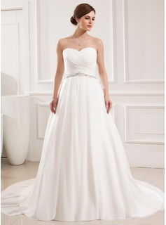 Ball-Gown Sweetheart Court Train Chiffon Wedding Dress With Ruffle Beading