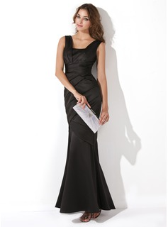Mermaid Square Necklin Floor-Length Satin Evening Dress With Ruffle