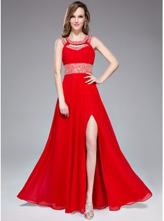 A-Line/Princess Scoop Neck Floor-Length Chiffon Prom Dress With Ruffle Beading Sequins Split Front