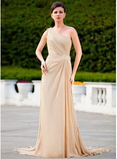 A-Line/Princess One-Shoulder Court Train Chiffon Mother of the Bride Dress With Ruffle Lace Beading (008024586)