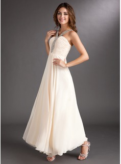 A-Line/Princess V-neck Ankle-Length Chiffon Holiday Dress With Ruffle Beading