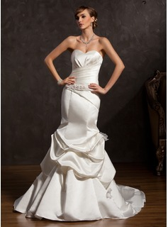 Mermaid Sweetheart Chapel Train Satin Wedding Dress With Ruffle Beadwork