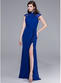 Sheath High Neck Floor-Length Chiffon Lace Evening Dress With Ruffle