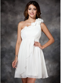 Empire One-Shoulder Short/Mini Chiffon Holiday Dress With Ruffle Flower(s)