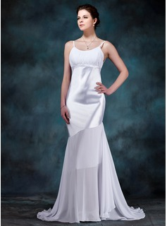 Trumpet/Mermaid Scoop Neck Sweep Train Chiffon Charmeuse Wedding Dress With Ruffle