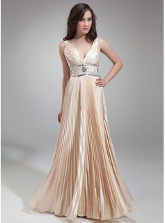 A-Line/Princess V-neck Floor-Length Charmeuse Evening Dress With Ruffle Beading (017018813)