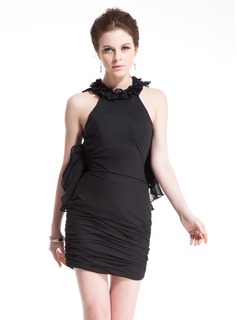 Sheath/Column Scoop Neck Short/Mini Chiffon Cocktail Dress With Cascading Ruffles