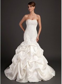 Mermaid Sweetheart Court Train Satin Wedding Dress With Lace Beadwork (002015486)