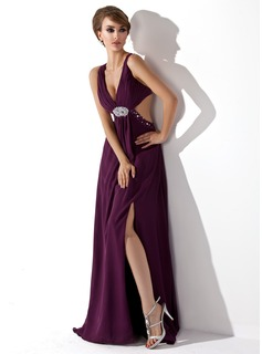 Sheath V-neck Sweep Train Chiffon Evening Dress With Ruffle Beading
