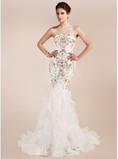 Trumpet/Mermaid Sweetheart Court Train Organza Lace Evening Dress With Embroidered Beading Sequins Cascading Ruffles (017019554)
