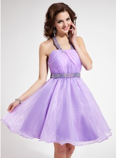 A-Line/Princess Halter Knee-Length Organza Homecoming Dress With Ruffle Beading Sequins