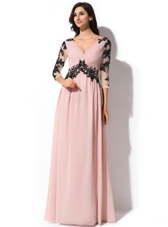 A-Line/Princess V-neck Floor-Length Chiffon Tulle Evening Dress With Ruffle Lace Beading Sequins
