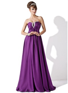 Empire Sweetheart Floor-Length Chiffon Evening Dress With Ruffle Beading (017013795)
