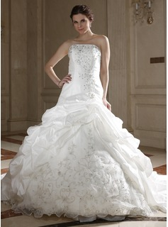 Ball-Gown A-Line/Princess Strapless Chapel Train Taffeta Organza Wedding Dress With Embroidery Ruffle Beadwork Sequins