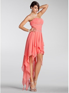 A-Line/Princess Strapless Asymmetrical Chiffon Holiday Dress With Ruffle Beading (020005298)