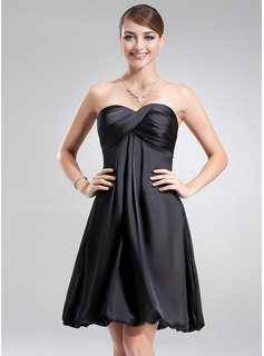 Empire Sweetheart Knee-Length Charmeuse Homecoming Dress With Ruffle