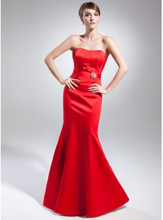 Mermaid Sweetheart Floor-Length Satin Evening Dress With Crystal Brooch