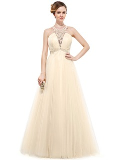 A-Line/Princess Scoop Neck Floor-Length Tulle Evening Dress With Lace Beading Sequins
