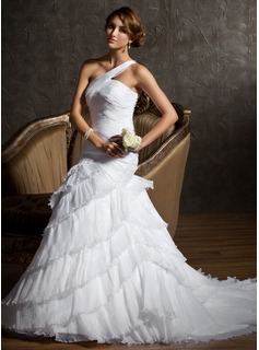 Trumpet/Mermaid One-Shoulder Court Train Organza Satin Wedding Dress With Cascading Ruffles Pleated