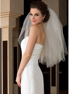 Three-tier Elbow Bridal Veils With Cut Edge