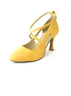 Women's Nubuck Heels Pumps Latin With Ankle Strap Dance Shoes