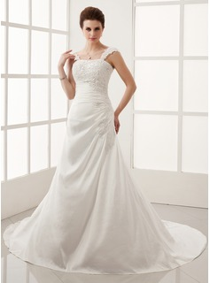 A-Line/Princess Chapel Train Taffeta Wedding Dress With Ruffle Lace Beadwork