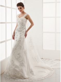 A-Line/Princess Sweetheart Watteau Train Satin Tulle Wedding Dress With Lace Beadwork