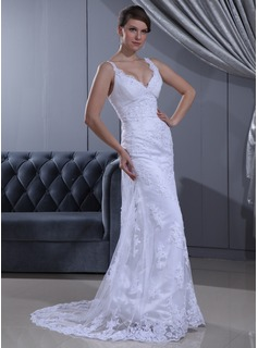 Sheath/Column V-neck Sweep Train Satin Lace Wedding Dress With Ruffle Beadwork