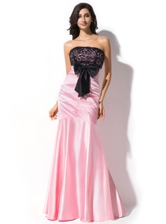 Trumpet/Mermaid Strapless Floor-Length Charmeuse Lace Evening Dress With Bow(s)