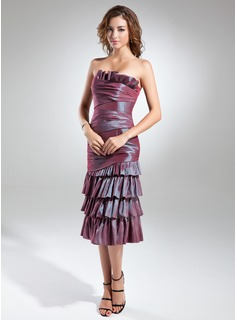 Sheath Scalloped Neck Knee-Length Taffeta Cocktail Dress With Ruffle