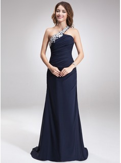 A-linje One-Shoulder Sweep/Brush train Chiffon Aftenkjole med Perlebroderi Applikationer Lace